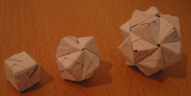 A cube, an octahedron and an icosahedron.